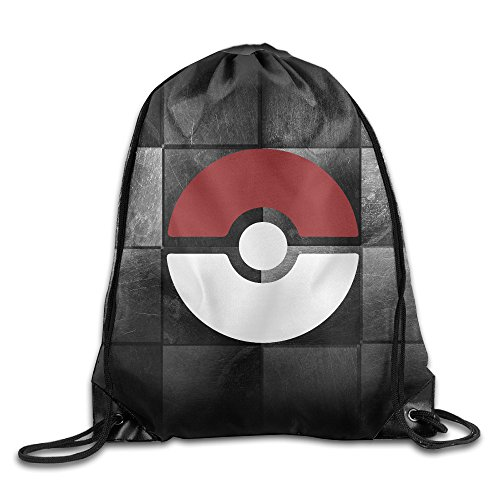 BYDHX Subtle Pokeball Poke-mon Logo Drawstring Backpack Bag White