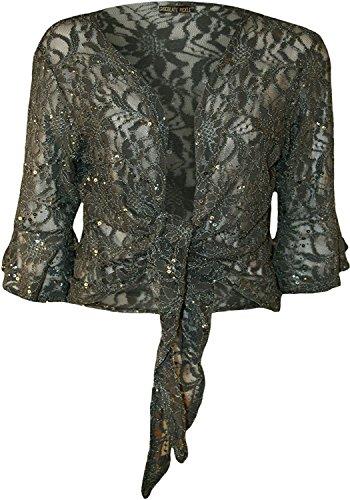 Chocolate Pickle Womens Plus Size Tie up 3/4 Flared Sleeve Shrug Lace Sequin Bolero Top 8-22 (8-10 / Medium, Grey)