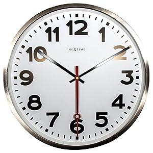 """NeXtime Reloj de pared - Estación de trenes """"SUPER STATION"""", blanco, redondo, ø 55 cm 1"""