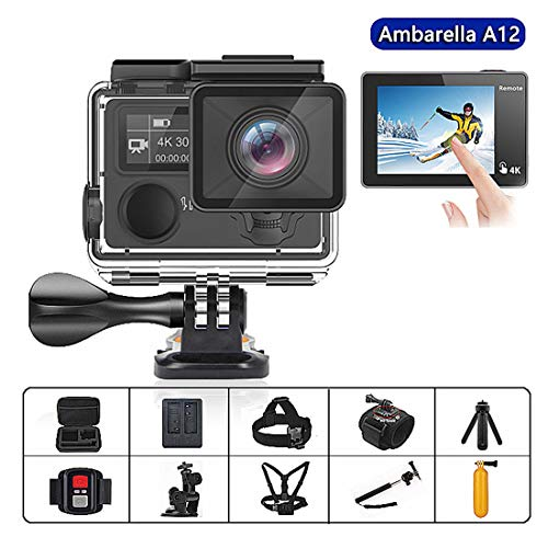 SONGYANG Ultra HD Sport Action Camera with Ambarella A12 chip 4k/30fps 1080p/60fps 14MP EIS 30M Waterproof 170 Degree Wide View Sport Camera with 2.4G Remote Control,A+64Gmemorycard