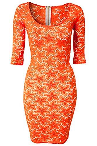Pinkyee naranja superposición Mini vestido de encaje floral de la mujer Pattern Color