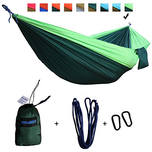 Xiyoyo Camping Hammock Parachute Nylon Single Hammock with Tree Straps&Carabiners 441lb Capacity 108x 55 inch Garden Easy Hanging Gear For Backpacking Survival, Travel (Flourescent Green/Dark Green)