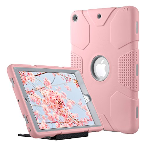 New-iPad-2017-97-inch-Case-ULAK-Heavy-Duty-Shockproof-Kidproof-Protective-Case-Silicone-PC-Dual-Layer-Hybrid-Cover-for-Apple-New-iPad-97-inch-2017-Version-with-Universal-Kickstand-Rose-GoldGrey