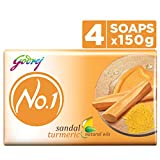Godrej No.1 Bathing Soap - Sandal & Turmeric, 150g (Pack of 4)