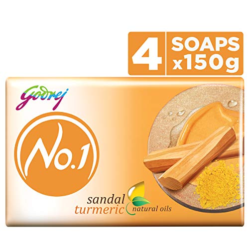 Godrej No.1 Bathing Soap – Sandal & Turmeric, 150g (Pack of 4)