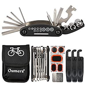 Oumers Multi Function Bike Bicycle Cycling Mechanic Repair Kit with 3pc Tire Lever 5pc Tyre Patches/Tire Rasp Work Bag & 2 in 1 Universal Bicycle Chain Repair Tool Chain Breaker and Chain Checker