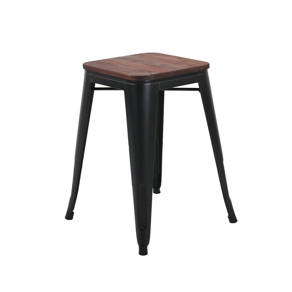 Sgabello da bar in metallo set industriale Counter stool confezione da 4 patio sedia per sala da pranzo 26 Black Wood Backless