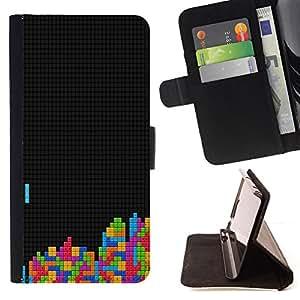 BullDog Case - FOR/HTC Desire 820 / - / tetris gaming computer retro vintage art colors /- Monedero de cuero de la PU Llevar cubierta de la caja con el ID Credit Card Slots Flip funda de cuer