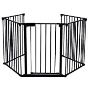Teekland Extended Metal Baby Safety Gate/Fence/Play Yard with Door,5 Panels Fireplace Fence for Pet/Toddler/Dog/Cat