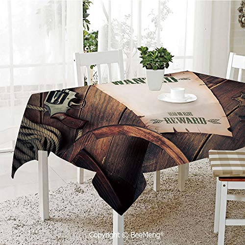(BeeMeng Spring and Easter Dinner Tablecloth,Kitchen Table Decoration,Western,Empty Blank Wanted Sign Paper with Old West Sheriff Items on Wooden Planks Print Decorative,Brown Cream,59 x 83 inches)