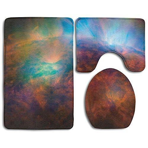 YSSH HOME Sun Universe Solar System Prints Non-Slip Bathroom Rugs 3 Piece Set Anti-skid Pads Bath Mat + Toilet Lid Cover + Contour by YSSH HOME