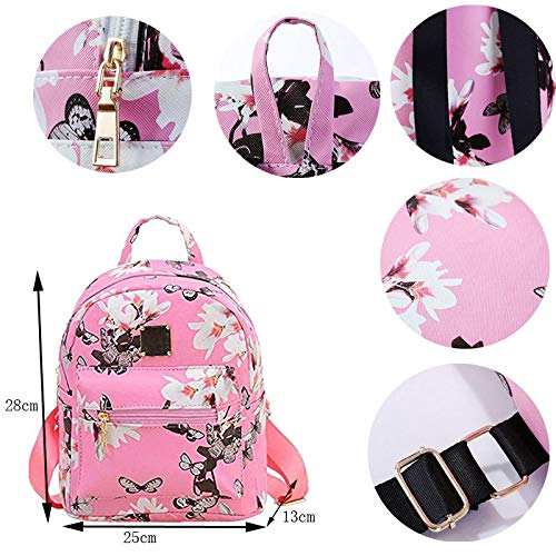 Donalworld Women Floral School Bag Travel Cute PU Leather Mini Backpack S Col6 by Donalworld (Image #6)