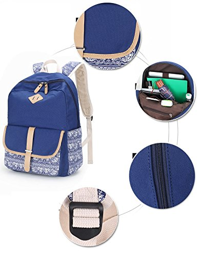 Hasp Dark Bagpack Pink Bag For Rucksack School Light Winnerbag Female Printing Backpack blue Girls Teenager Women Canvas Casual Flower pxqnfwC7