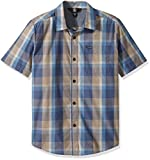 Volcom Big Boys' Woodson Short Sleeve Plaid Button up Shirt, Deep Blue, M