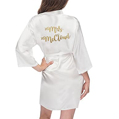 Image Unavailable. Image not available for. Color  Customized Mrs. Satin  Bridal Robe - White ... 83877841c