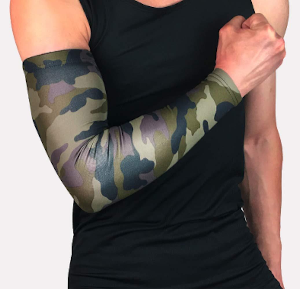 AIK ハイパフォーマンス アスレチック アームスリーブ UV保護 若者 男女兼用 アスリート用 プレミアムコンプレッション 最もクールな迷彩色から選択 スリーブ1枚 B07GNZ7D88  グリーンカモフラージュ X-Large