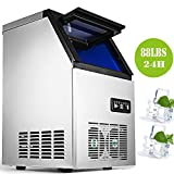 Happybuy 110V Commercial Ice Maker Stainless Steel Commercial Ice Machine Industrial Ice Maker Machine Auto Clean for Bar Home Supermarkets