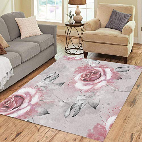 Pinbeam Area Rug Pink Flowers and Leaves on Gray Watercolor Floral Home Decor Floor Rug 5' x 7' ()