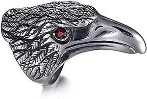 Signe Black Titanium Steel Eagle Head Ornament Ring Size 9