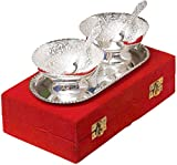 Indiancraftvilla Handmade Silver Plated Brass Bowl With Tray Set Of 5 Pieces