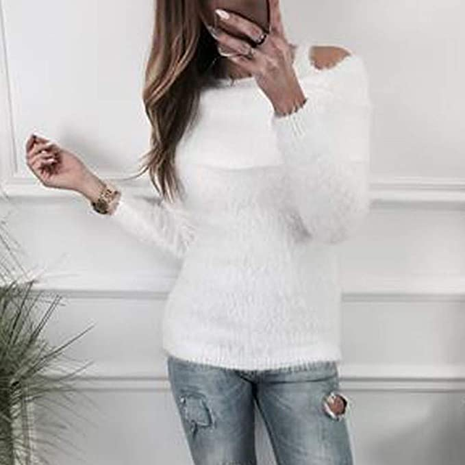 Suéter de Mujer Invierno Jersey Largo Mujer suéter de Mujer Fluffy Solid  Jumper Cold Shoulder Manga Larga suéter Mujer Manga Larga Sexy del Hombro  Tops Tops ... b4223f1b6afa