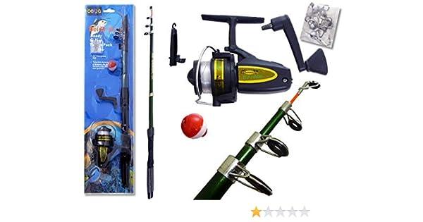 Bei Er Ya Gear Caña de Pesca y Carrete Combo * Ready to Fish Tackle Pack con telescópico caña de Pescar: Amazon.es: Deportes y aire libre