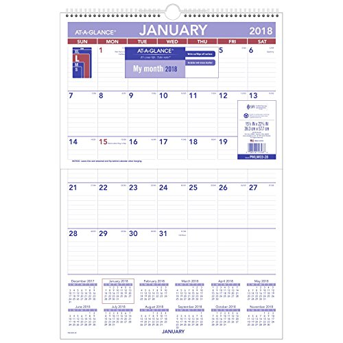 AT-A-GLANCE Monthly Wall Calendar, January 2018 - December 2018, 15-1/2 x 22-3/4, Erasable, Wirebound (PMLM0328)