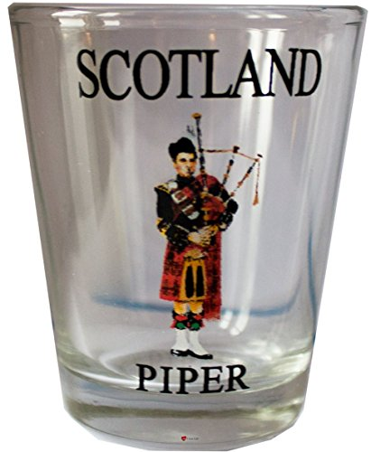 (Scottish Gift Shot Glass Highland Traditional Piper Design Gift Shot Glass)