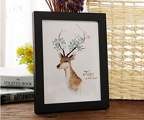 Price comparison product image leyoubei Frame 8 1 / 4-by-11 3 / 4-inch Simple frame for documents or photographs, Thick frame wood frame Pack of 1 (black) A4 paper for international size