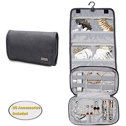 Teamoy Hanging Jewelry Organizer, Jewelry Roll Travel Bag with Multiple Compartments and Hooks for Rings, Necklaces, Earrings, Bracelets and More-No Accessories Included, Gray