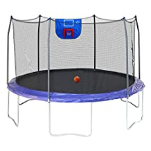 Skywalker Trampolines Jump N' Dunk with Safety Enclosure and Basketball Hoop, Blue, 12-Fee