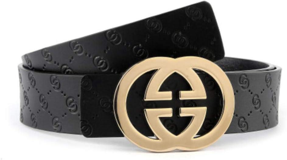 DENGDAI Mens Belts,Leather Belt,Belts for Mens Leather,Leather Smooth Buckle Alloy Belt Buckle
