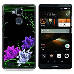 - Floral Flowers Minimalist Green Pink/ Duro Snap en el tel????fono celular de la cubierta - Cao - For HUAWEI Ascend Mate 7