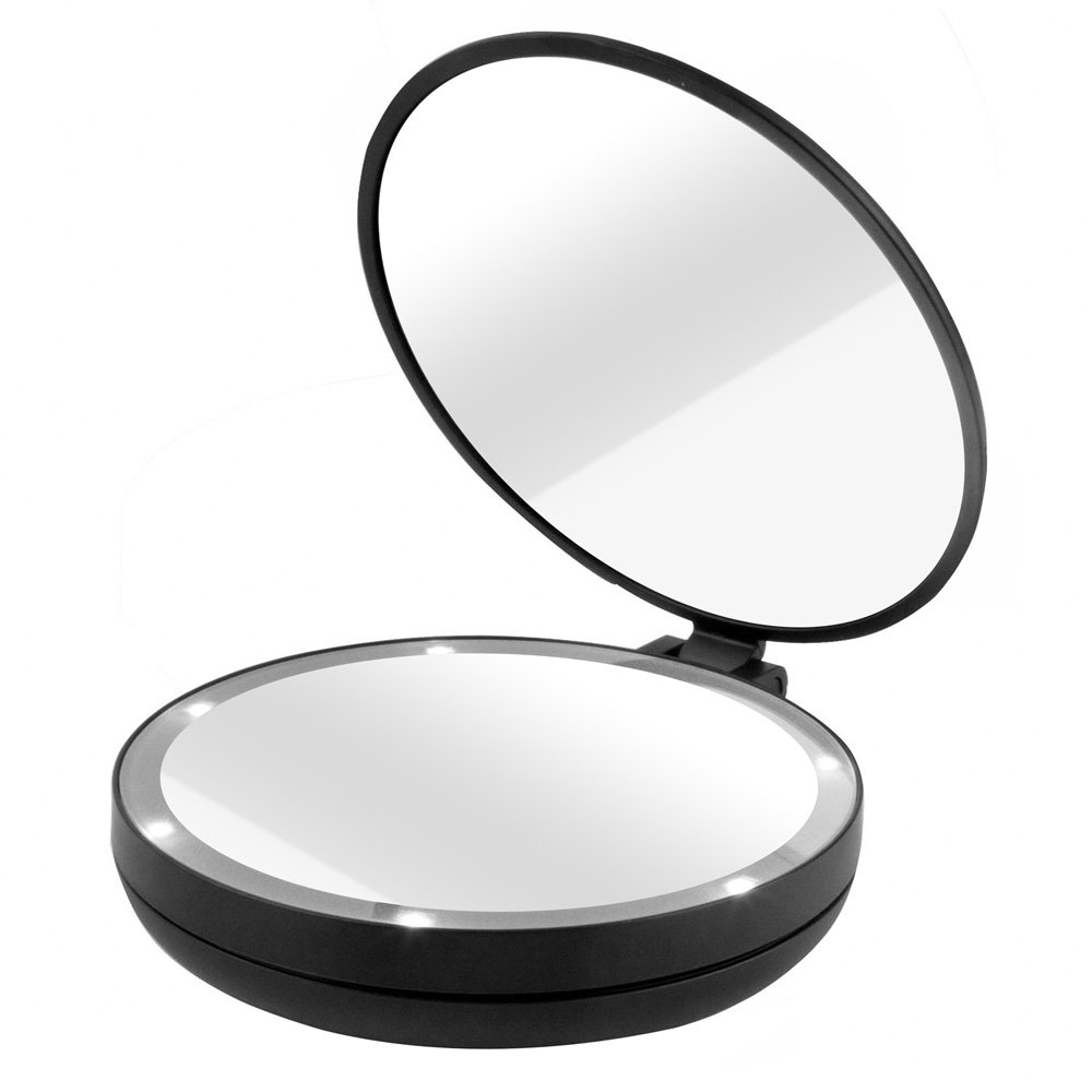 Amazon com   Gotofine  LED Lighted Makeup Mirror with 10x Magnifying Mirror    Double sided Luxury Folding Handheld Mirror Magnifies 10x on One Side and  1x. Amazon com   Gotofine  LED Lighted Makeup Mirror with 10x