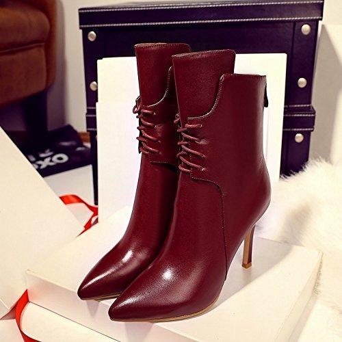 Mujer DHG Alto Vino Zapatos de Alta Alta Fino Rojo de con Mujer de en 37 de Puntiagudos Gama Botas de Tacón Gama pxrqpS6w