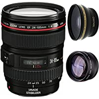 Canon 24-105mm L Lens (WHITE BOX) + High Definition Wide Angle Auxiliary Lens + High Definition Telephoto Auxiliary Lens