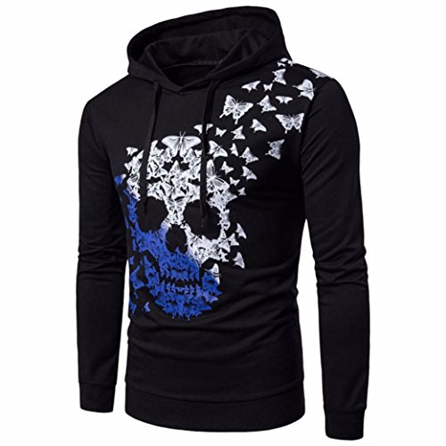 Fashion Blouse,Han Shi Mens Skull Heads Butterfly Long Sleeve Hooded Sweatshirt Tops (XL, Black)