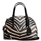 SALE ! New Authentic COACH Zebra Dome Satchel Convertible Shoulder Bag Black & Cream