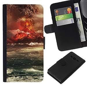 Stuss Case / Funda Carcasa PU de Cuero - Isla del Volcán Erupción - Samsung Galaxy A3