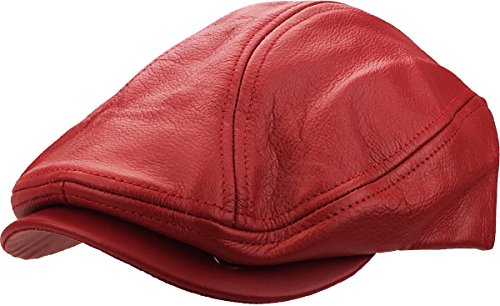 Leather-Ascot RED L/XL Genuine Leather Ascot Ivy Made in USA Hat