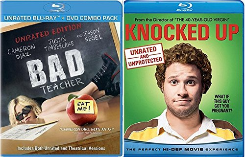 Bad Teacher + Knocked Up 2 Disc Unrated Collector's Edition Comedy Feature Blu Ray + DVD Fun Double Feature movie Set Combo Edition