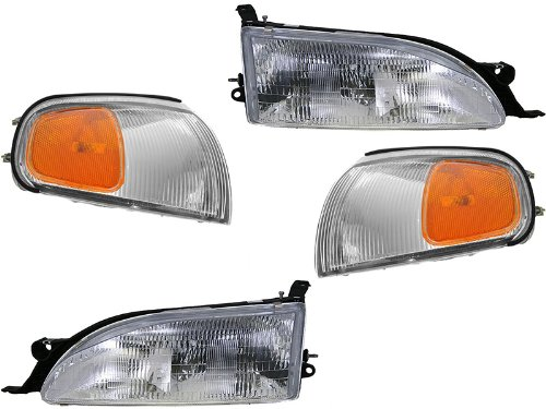 Toyota Camry 95 96 1995 1996 Head And Corner Park Light With Bulb 4 Piece Set ()