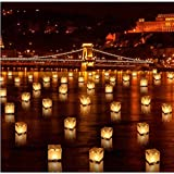 Diagtree 20 PCS Biodegradable 5.9-inch Floating Water Candle Chinese Paper Lanterns Wishing Praying Blessing Wedding Festival Event Party Patio Memorial Pool Side Decoration (20 Pack)