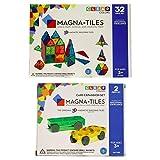 Magna-Tiles 32-Piece Clear Colors Set - The Original, Award-Winning Magnetic Building Tiles - Creativity and Educational - STEM Approved Bundled 2-Piece Car Expansion Set