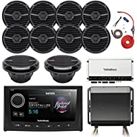 Rockford Fosgate Hide Away AM/FM Receiver, 5 Display Head Unit, 4x 6.5 300W Marine Black 4-Ohm Speakers, Class-D 5-Channel 600W Amplifier, 8 AWG Power Only Amp Install Kit, 8 300W White Subwoofer