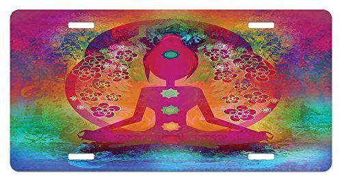 zaeshe3536658 Yoga License Plate, Padmasana with Colored Chakra Points Breath Ease Relax Exercise Mystic Spiritual, High Gloss Aluminum Novelty Plate, 6 X 12 Inches, Fuchsia Mustard by zaeshe3536658