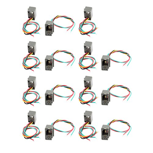 uxcell 15Pcs 4 Wires Lead 616E 4P4C RJ9 Female Socket Telephone Connector Adapter from uxcell
