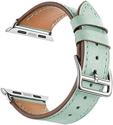 LEUNGLIK AppleWatchBand38mmPink/GreenLeatherReplacementBands iWatch StrapFitfor Apple Watch Series3/Series2(2016)/Series1-- Green
