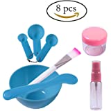 Teenitor Lady Facial Care Mask Facemask Mixing Tool Sets, Bowl Stick Brush Gauge 8 in 1 Set Blue