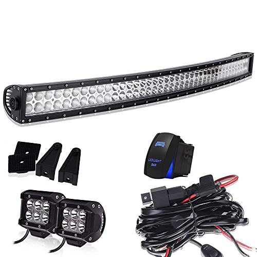 40-42In Curved Led Light Bar On Grille Front Bumper Roof Rack + 4In Pods Cube Fog Lights For Truck Dodge Ram Polaris Jeep Cherokee Toyota Tacoma Can Am SXS Marine Yamaha YXZ Wildcat Limited 4x4 - Sitting Pretty Cat